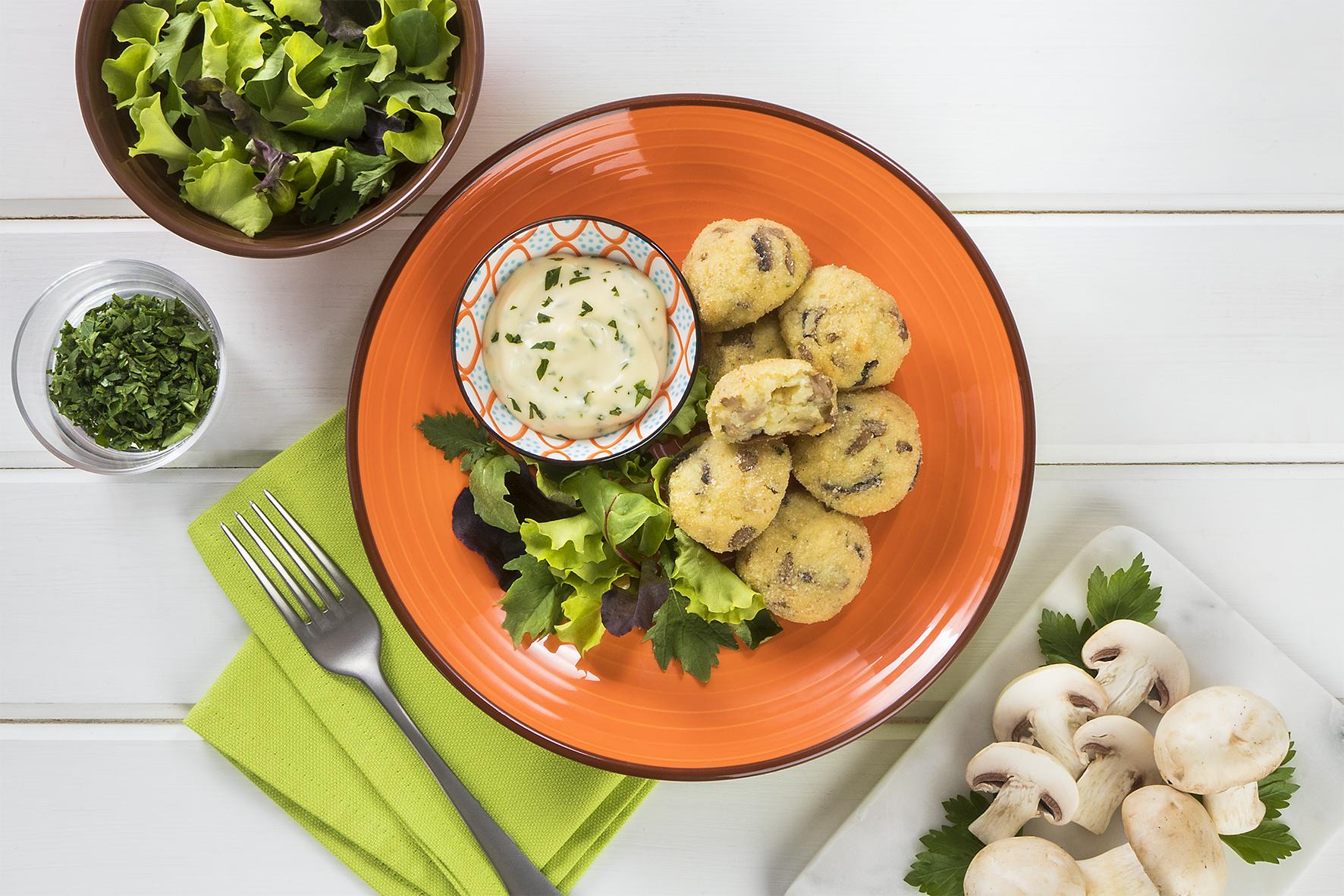 Polpette di funghi con patate e maionese